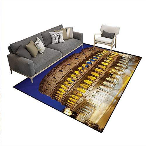 Floor Mat,Historic Imperial Roman Architecture European Culture Symbol,Small Rug Carpet,Royal Blue Yellow Brown,6'x8'