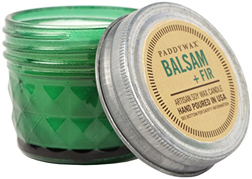Green Glass Relish - Paddywax Candles Relish Collection Soy Wax Blend Candle in Glass Mason Jar, Small- 3 Ounce, Balsam + Fir