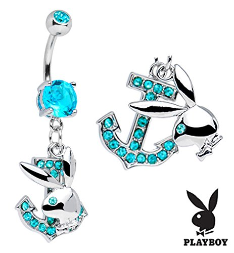 - Officially Licensed Aqua lt blue Playboy Bunny rabbit Anchor nautical Dangle Belly navel Ring piercing bar body jewelry 14g