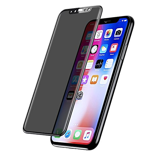 Tether Privacy Screen Protector Compatible with iPhone X, 3D Full Coverage, Anti-Spy Anti-Fingerprint Anti-Scratch, 9H Tempered Glass, Cover Shield