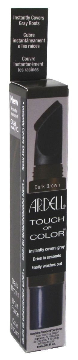 Ardell Touch Of Color Instant Gray Root Cover Applicator Brush - Dark Brown