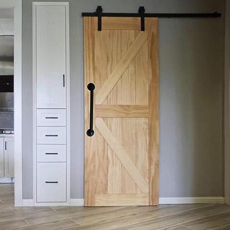 Tiradores de puerta de madera estilo europeo para estante de cocina, estilo retro, para puertas correderas, manijas de puerta de granero, interior de manija industrial, negro mate: Amazon.es: Bricolaje y herramientas