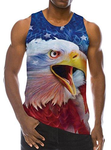 Tee Work Graphic Best (Loveternal Mens 3D Eagle Print Tank Tops Summer Casual Work Out Sleeveless Graphics Tees Sport Gym Shirt XL)