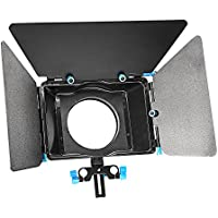 Neewer Aluminum Alloy Matte Box with Donut Ring,Fit 15mm Rail Rod Rig,for Nikon Canon Sony Fujifilm Olympus DSLR Camera Camcorder DV/HDV/Broadcast Video Movie Film Making System