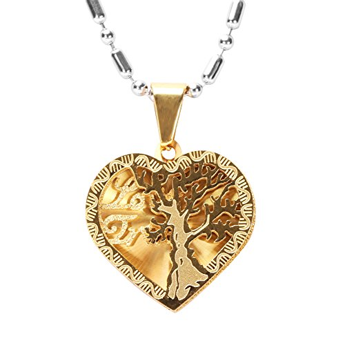 Family Tree of Life Necklace, Heart Shape 316L Stainless Steel Pendant -...