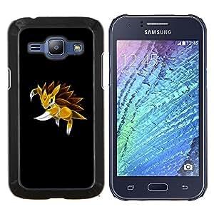 KLONGSHOP // Cubierta de piel con cierre a presión Shell trasero duro de goma Protección Caso - Meter Monster erizo amarillo - Samsung Galaxy J1 J100 //