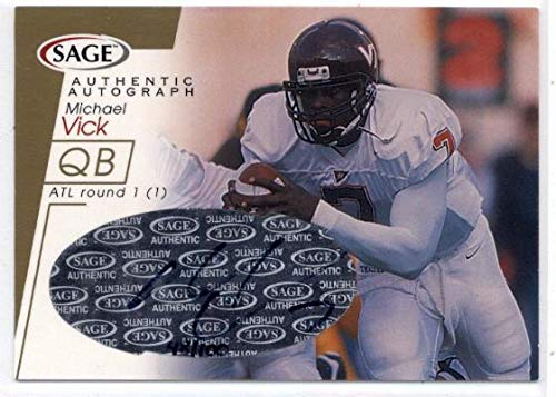 2001 SAGE Autographs Gold #A46 Michael Vick - Atlanta Falcons/Eagles NFL Football Card (Autographed) (Rookie Card - On Card Auto - Serial #d to 100) NM-MT (Vick Atlanta Falcons Autographed Football)