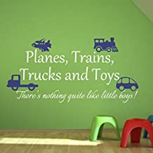 Playroom Decal Planes Trains Trucks and Toys Boy Wall Sticker Nursery Wall Decor Home Art Decoration C(toys:Blue;words:White)