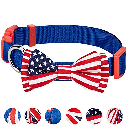 "Blueberry Pet 6 Designs Pack of 1 National Pride Handmade USA Flag w/Jacquard Weave Fabric Detachable Bow Tie Dog Collar in Blue, Small, Neck 12""-16"", Adjustable Collars for Puppies & Small Dogs"