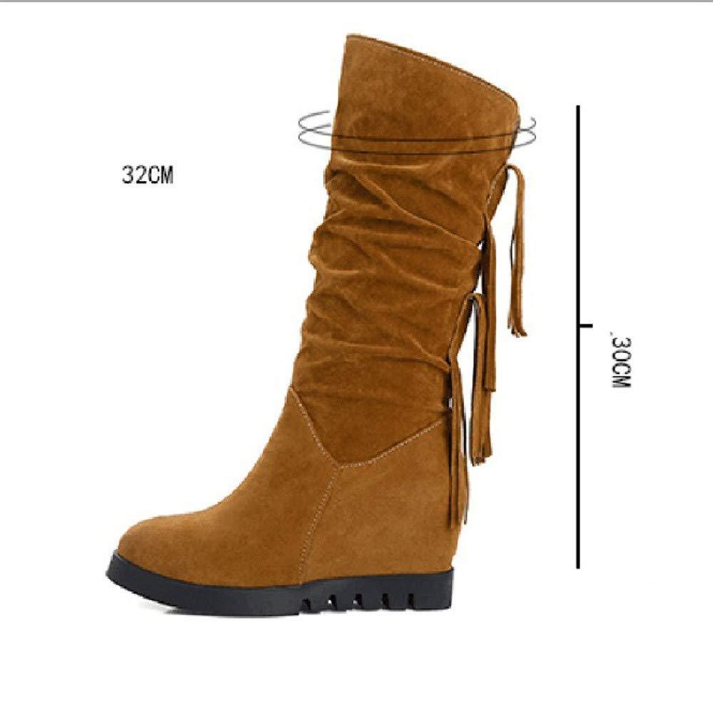 Botas con borlas Botines con Flecos Nacionales Zapatos con cuña Aumentada Medio LILICAT❋ Borlas con Aumento en Las Botas, señoras, Zapatos de otoño e ...