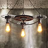 Pumpink American Style Large Iron Gear Pendant Lights Vintage Loft Bicycle Chain Edison Chandelier Industry Retro Steam Punk Adjustable Ceiling Hanging Light for Barn Warehouse Restaurant Living Room