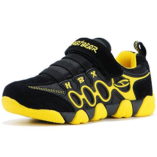 HOBIBEAR Boy's Girl's Kids Hook & Loop Light Weight Running Sneakers Shoes (5,Black/Yellow) - Kid Running Sneaker