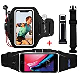 Armband & Running Belt for iPhone 10 X 8 7 6 6S, Sports Waist Pack Workout Belt Phone Armbands Arm Band Wristband with Key Holder Extension Strap for Samsung Galaxy S9/S8/S6/S7 Edge, Black, 2PACK