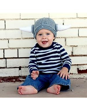 Milk protein cotton yarn handmade viking hat - fits 3-8 year old toddler