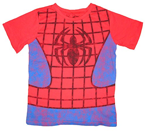 Marvel Avengers Themed Boys T-shirt (M, SpiderCostume(Red)) -