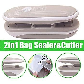 Mini Bag Sealer, Ariskey 2 in 1 Heat Sealer and Cutter Handheld Portable Bag Resealer Sealer for Plastic Bags Food Storage Snack Fresh Bag Sealer or Chip Saver Green (Battery Not Included)-Grey