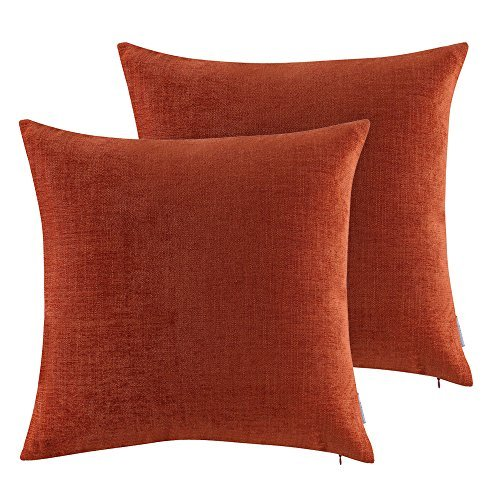 Chenille Throw Pillow (OJIA Home Decorative Deluxe Soft Solid Set of 2 Multifunctional 18x18 Inch Chenille Throw Pillow Cover Cushion Case (Brick Red))