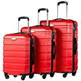 Coolife Luggage 3 Piece Set Spinner Trolley Suitcase Hard Shell Lightweight Carried On Trunk 20inch 24inch 28inch(red)