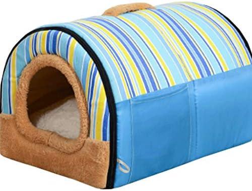 ケンネル半閉鎖ジッパー冬暖かい取り外し可能なクリーニングペットハウスリビングルームベッドルームバルコニーユニバーサルキャットハウス (色 : Rainbow blue+mat, サイズ さいず : 55×38×35cm)