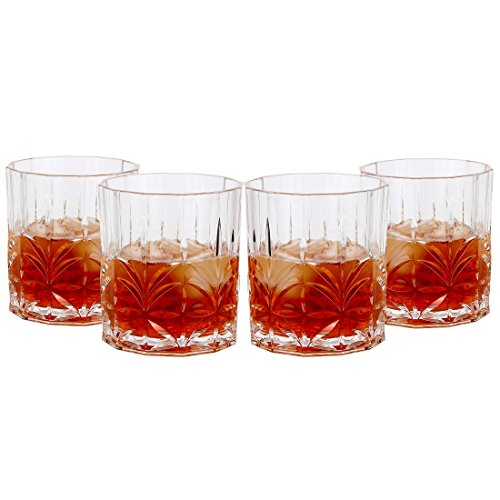 Lily's Home Acrylic Double Old Fashioned Whiskey Tumbler - Set of 4 Premium Indoor / Outdoor Whisky Scotch Tumblers - Shatterproof, Reusable, Dishwasher Safe (Fashioned Old Plastic)