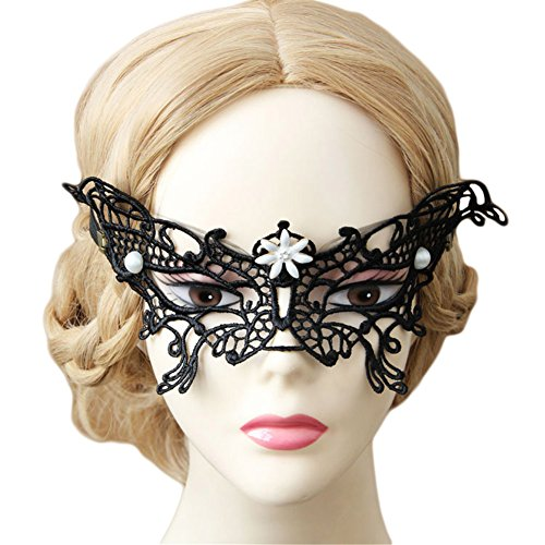 Venetian Pretty Party Masquerade Mask Butterfly Decoration Half Face Mask for Prom Balls (Venetian Mask With Pearl)