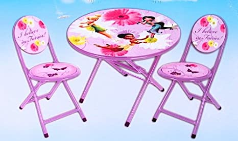 Amazon.com: Disney Fairies Tinkerbell 3 Piece Folding Table and ...
