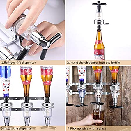 Alcohólicas Dispensador de Bebidas Botellas Óptica de Pared para 4 Bebidas Soporte Montado En Vino Home Bar Mayordomo para Bebidas alcohólicas, Vodka, Whisky, Ron, Ginebra