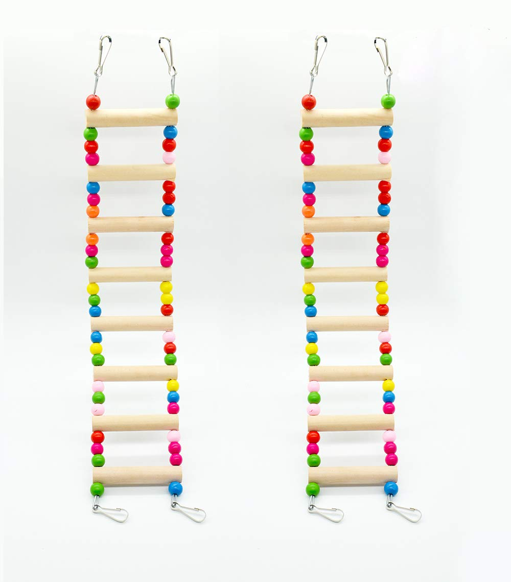 Hatisan Pet Bird Parrot Toy, Wooden Ladder Bridge Swings Hanging Ladders Toy for Pet Trainning (2Pcs, 3-Wooden beads)