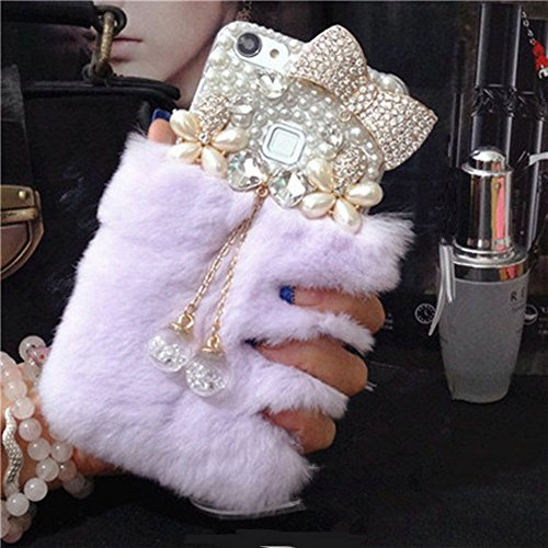 Mixneer For Galaxy S7 Case, Luxury Diamond Lazy Rabbit Hair Phone Case Cover Crystal Pendant for Samsung Galaxy S7 - Citron Purple ()