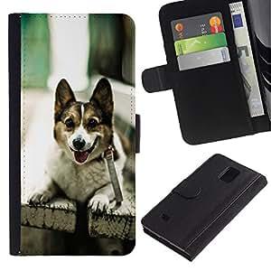 Billetera de Cuero Caso Titular de la tarjeta Carcasa Funda para Samsung Galaxy Note 4 SM-N910 / Funny Friendly Dog On A Bench / STRONG