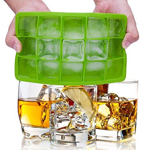Lot de 2 bacs à glaçons en silicone approuvé par la FDA, 15 glaçons par plateau, idéal pour le whisky, les cocktails et toutes les boissons – Vert