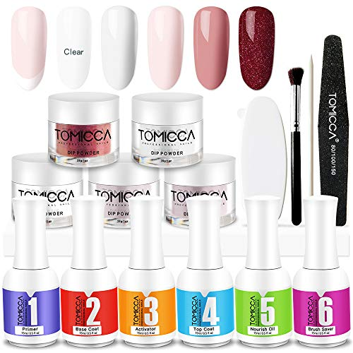 Nail Dipping Powder Kit, Acrylic Nail Powder, Acrylic Dip Powder Nail Kit System for French Set by TOMICCA Fast Dry NO UV/LED (Comes With 5 Powder Set, Essentials Kit Steps 1-6,Manicure Tools)