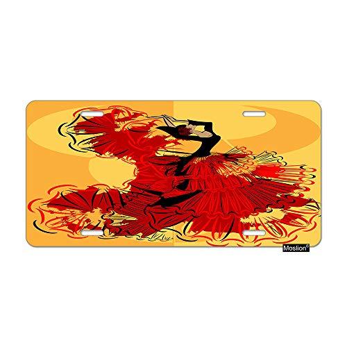 Moslion Woman License Plate Spanish Girl Dancer in Red Black Dress Flamenco Car Tags Aluminum Metal Custom License Plate Cover 6x12 Inch for Truck SUV Orange -