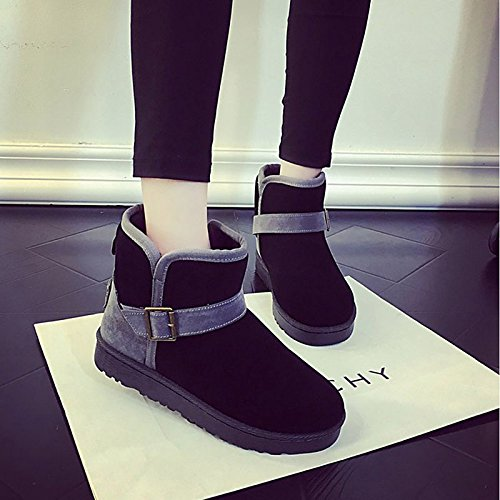 Boots Mid Heel Calf Casual Comfort Women's Boots Round Flat Snow Black Toe for Purple PU ZHZNVX Shoes Boots Black Fall Winter Buckle HSXZ 6HaSPa