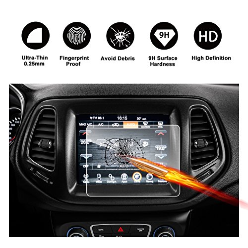2017 2018 Jeep Compass Uconnect Touch Screen Car Display Navigation Screen Protector, RUIYA HD Clear TEMPERED GLASS Car In-Dash Screen Protective Film (8.4-Inch) by R RUIYA