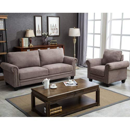 Hooseng Fabric Living Room Sofa Set Collection Taupe with Curled Handrails, Trim (Chair&Sofa) by Hooseng