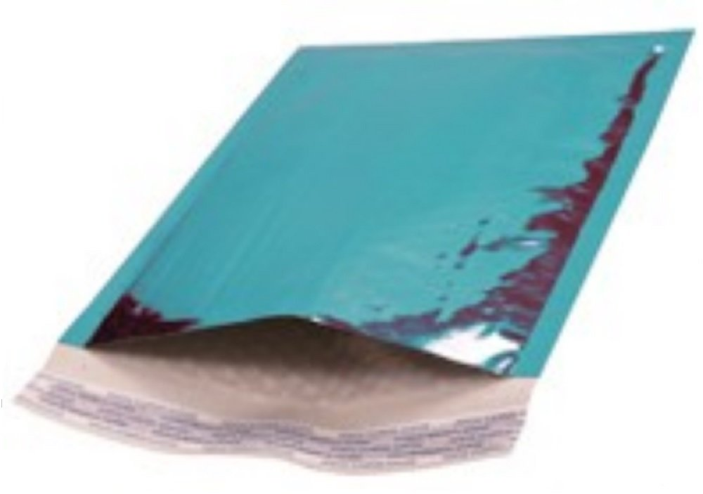 Amiff Bubble mailers 4x7. Padded envelopes 4 x 7. Exterior size 5x8 (5 x 8). Peel & Seal. Glamour Metallic foil. Mailing & shipping & packing & packaging. Pack of 20 Teal cushion envelopes.
