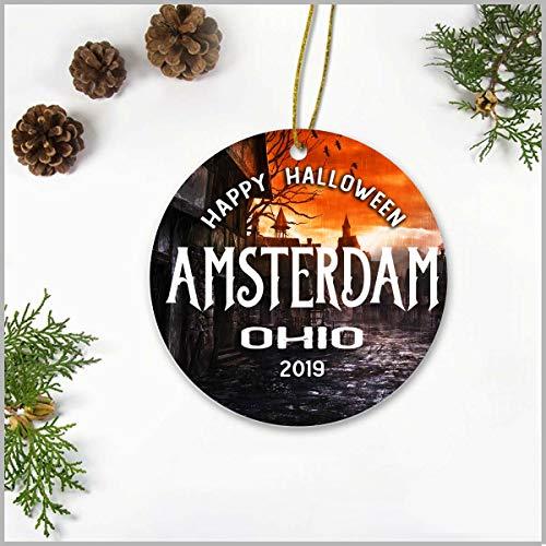 Halloween 2019 Amsterdam (Halloween Christmas Tree Ornaments 3 Inch - Happy Halloween Amsterdam Ohio OH 2019 - Happy Halloween Ceramic Ornamentfor Holiday Anniversary Home)