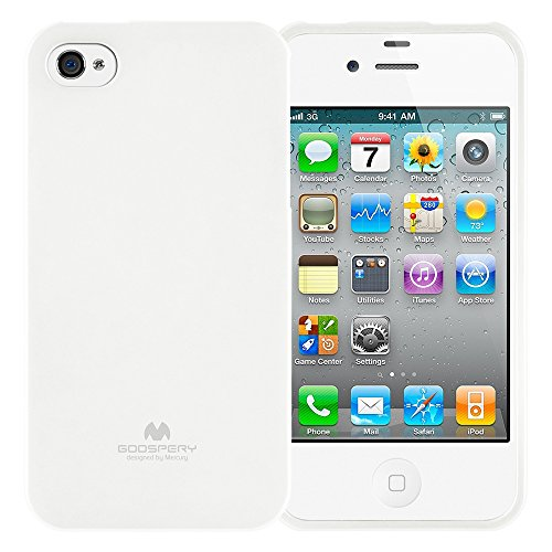 GOOSPERY Marlang Marlang iPhone 4/4S Case - White, Free Screen Protector [Slim Fit] TPU Case [Flexible] Pearl Jelly [Protection] Bumper Cover for Apple iPhone4S, IP4-JEL/SP-WHT 4s White Hard Case