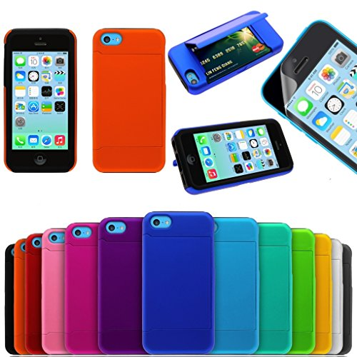 Dual Layer Armor Hybrid Shockproof Hard Plastic with Silicone Wallet Credit Card Stand Case with Screen Protector for Iphone 5c (Orange)