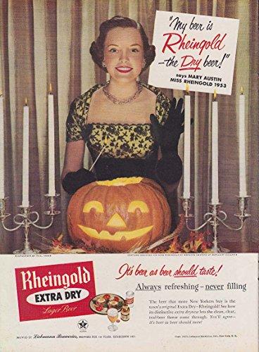 Miss Rheingold Beet Mary Austin ad 1953 Halloween Jack-o-Lantern NY