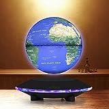 Touch Control 6Inch Floating Globe with LED Lights ,Magnetic Levitation Floating Globe World Map for Desk Decoration ,Blue Globe Black Platform LED Adjustment Lreaning EducationHome Decor
