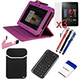 """GTMax 11 Items Essential Accessories Bundle kit for Amazon Kindle Fire HD 8.9"""" / 8.9 inch Tablet — Hot Pink Lizard Pattern Swivel Smart Leather Case Cover included [Automatically Wakes and Puts your Tablet to Sleep], Best Gadgets"""