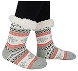 Slipper Socks Super Soft Women/Girls Fleece Lined Antiskid Winter Socks ,GrayPink