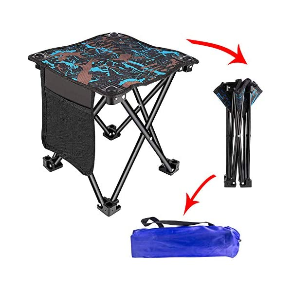 51XI0Vys8pL Unihoh Camping Stuhl Hocker Klein Klapphocker Kompakter Faltbar Strandstuhl Tragbarer Outdoor Fauler Stool Hocker, für…