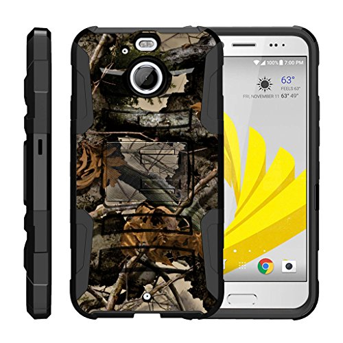 TurtleArmor | HTC Bolt Case | HTC 10 Evo Case [Hyper Shock] Hybrid Dual Layer Armor Holster Belt Clip Case Kickstand - Tree Leaves Camouflage (Evo 4g For Lte Case Girls Htc)