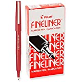 3 Dozen Total 36 Pens, Pilot Fineliner Marker Pens, Fine Point, Red Ink (11015)