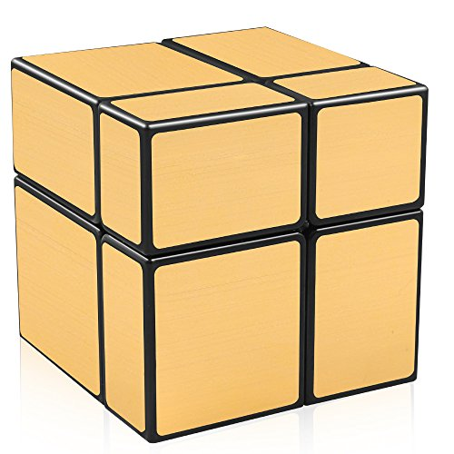 D-FantiX Shengshou Mirror Cube 2x2 Speed Unequal Cube Shape Puzzles Golden Black