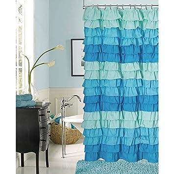 1 Piece Teal Shades Aqua Blue Gypsy Ruffle Shower Curtain Bohemian Ruffled Pattern Layered Overlapping Ruffles
