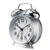 Peakeep 4'' Twin Bell Alarm Clock (Silver)